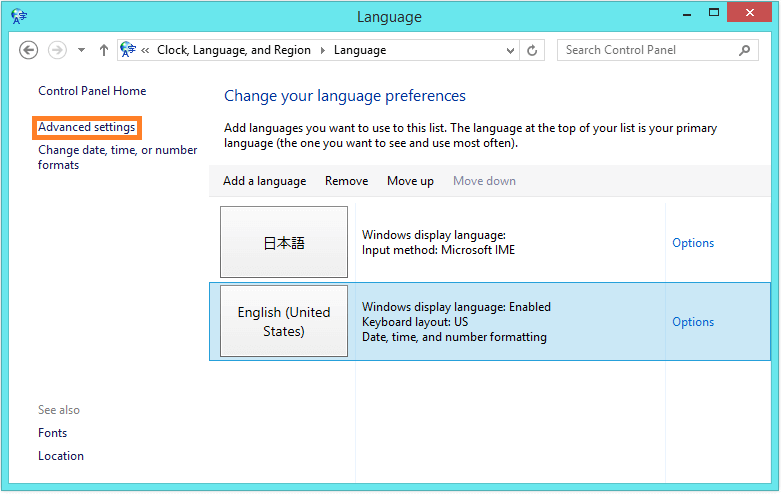 how to change language display windows 8.1